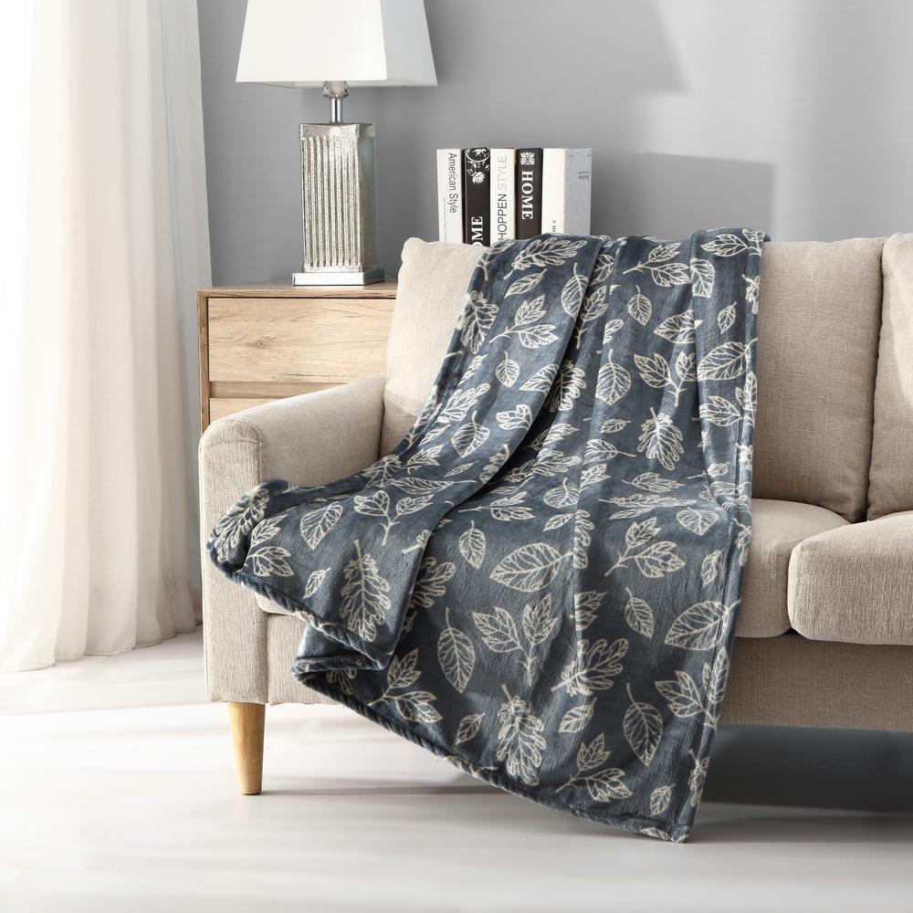 Morgan Home Falling Leaves Plush Throw Blanket