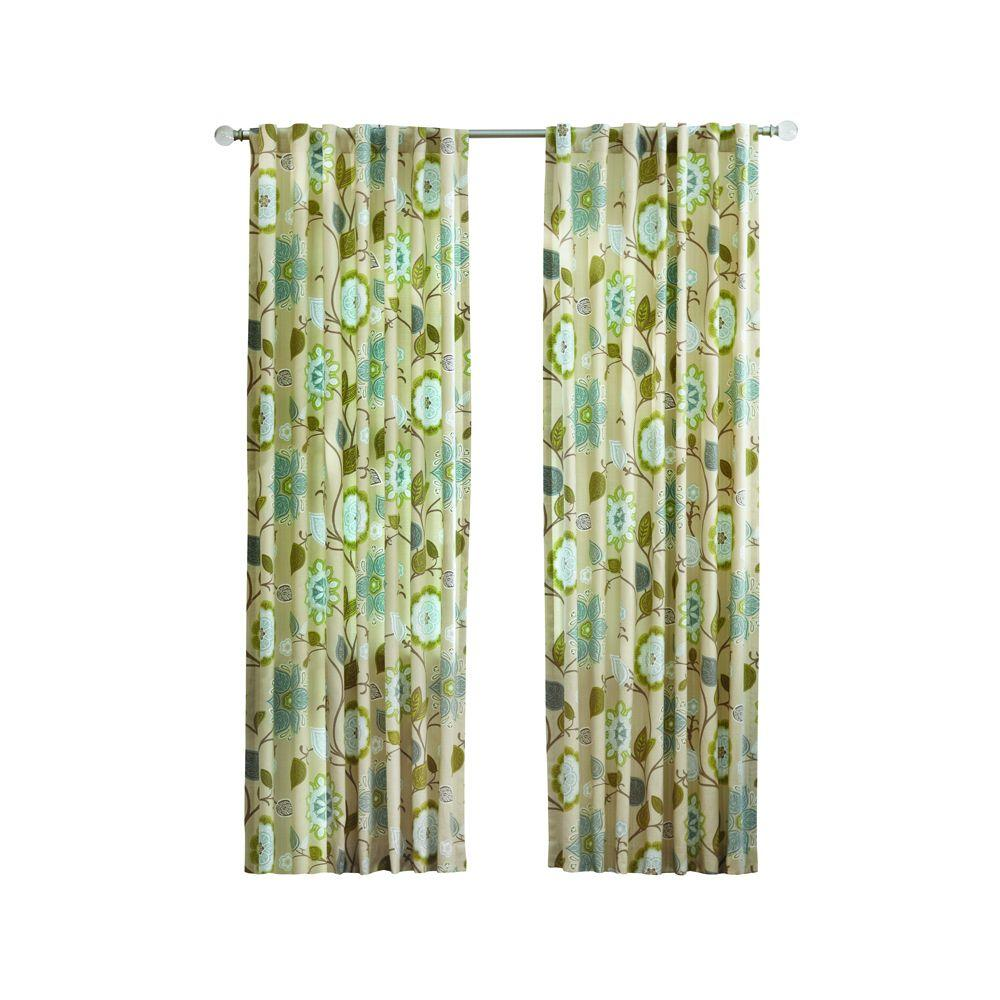 Home Decorators Collection Pear Floral Cottage Back Tab Curtain 1623933 The Home Depot