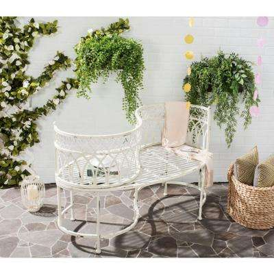 Lara Kissing 44 in. 2-Person Antique White Metal Outdoor Bench