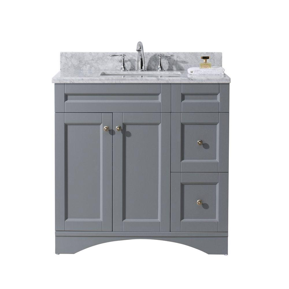 Grey And White Marble Bathroom: Virtu USA Elise 36 In. W Bath Vanity In Gray With Marble