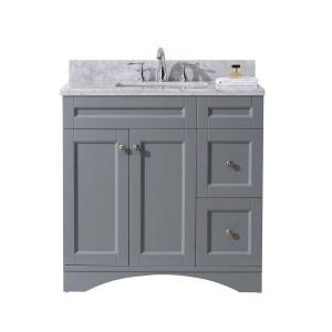 Virtu USA Elise 36 inch W x 22 inch D Vanity in Grey with Marble Vanity Top in White with White Basin by Virtu USA