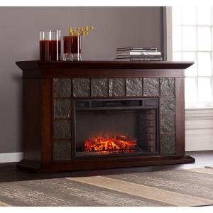 Southern Enterprises Marcos 60 inch Freestanding Electric Fireplace in Warm Brown Walnut by Southern Enterprises