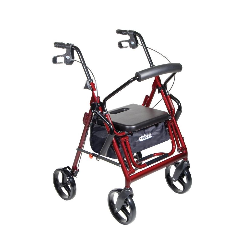 Drive Duet Burgundy Transport Wheelchair Rollator Walker