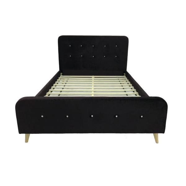 Noble House Priya Mid Century Modern Queen Size Black Velvet And Wood Bed  Frame