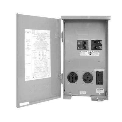 80-Amp RV Panel Outlet with 50-Amp and 30-Amp Receptacles, Breakers and GFCI Duplex