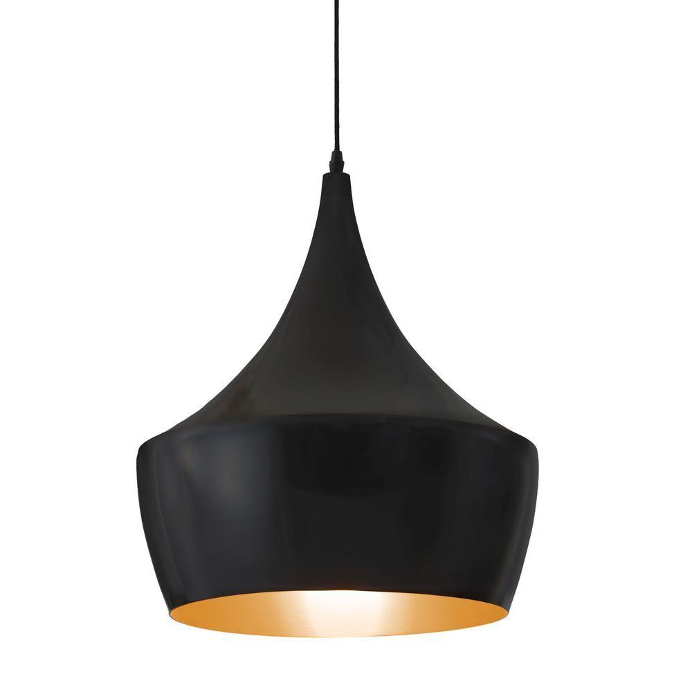 Copper 1-Light Matte Black Ceiling Pendant