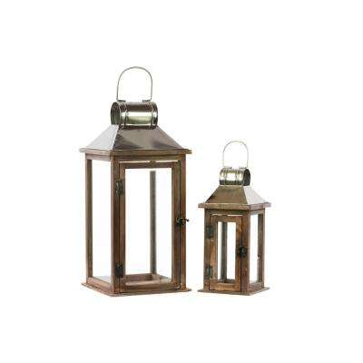 Silver, Brown Candle Wooden Decorative Lantern