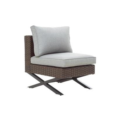 Wicker Outdoor Armless Lounge Chair with Gray Cushion