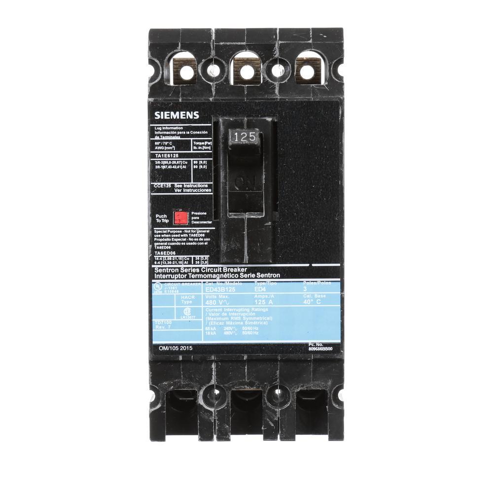 125 Amp 3-Pole Type ED 18 kA Circuit Breaker