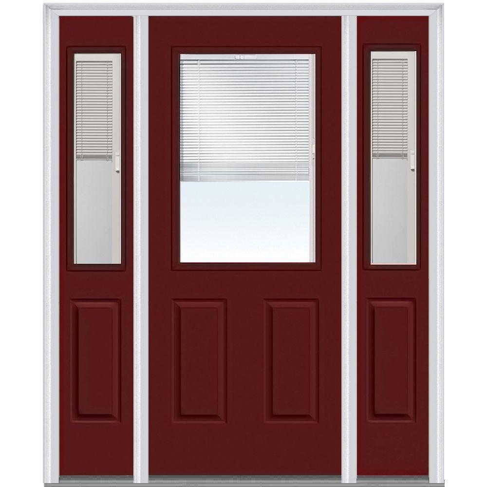 Red Single Door With Sidelites Front Doors Exterior Doors