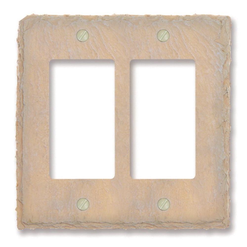 Faux Slate 2 Gang Rocker Resin Wall Plate - Almond