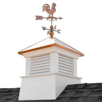 Manchester 30 in. x 30 in. x 67 in. H Square Vinyl Cupola with Rooster Weathervane
