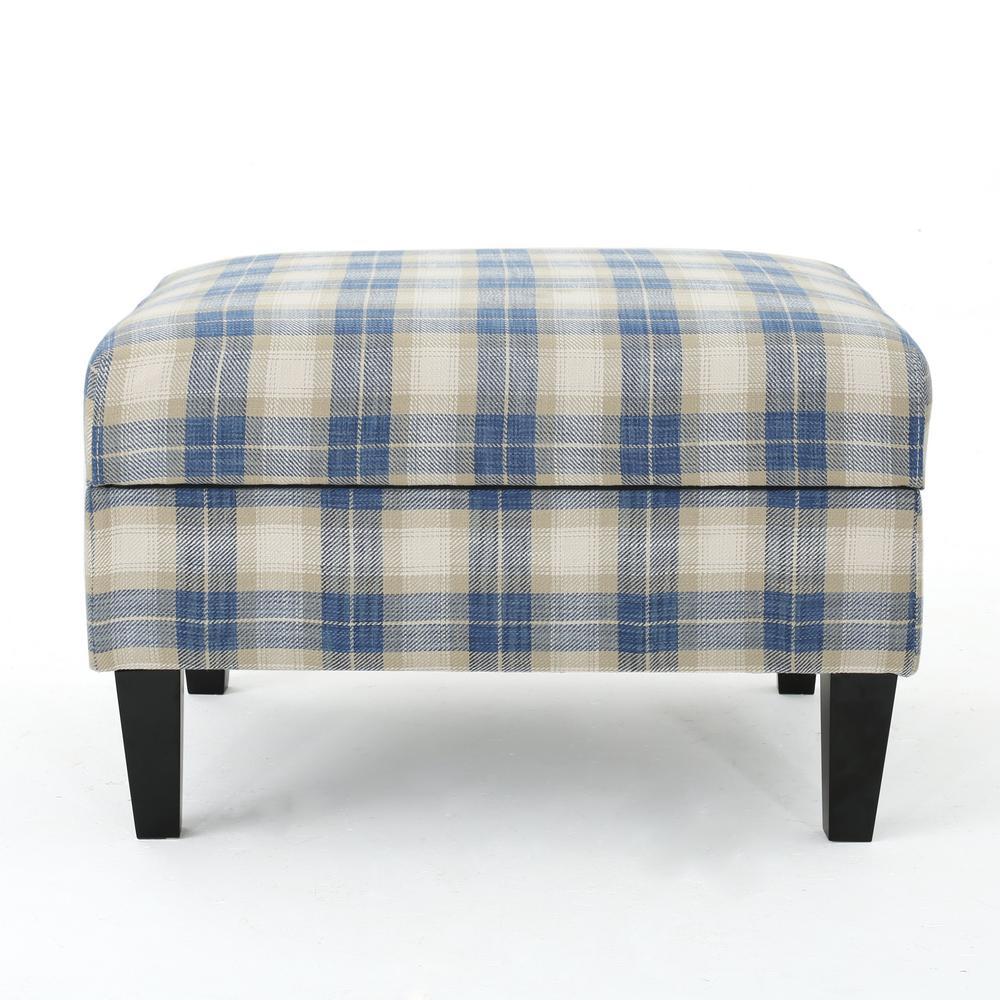 Fine Noble House Daisha Blue Plaid Fabric Storage Ottoman 16595 Machost Co Dining Chair Design Ideas Machostcouk