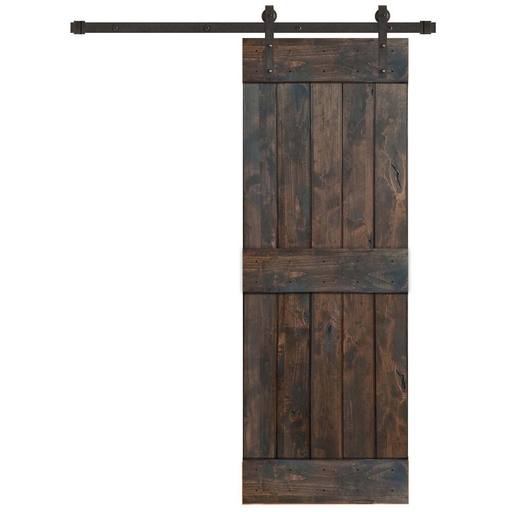 30 in. x 84 in. Rustic Espresso 2 Panel Knotty Alder Barn Door Kit with Oil Rubbed Bronze Sliding Door Hardware Kit