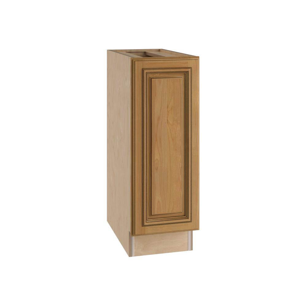 Home Decorators Collection Clevedon Assembled 9x34.5x24 in. Single Door Hinge Left Base Kitchen Cabinet in Toffee Glaze