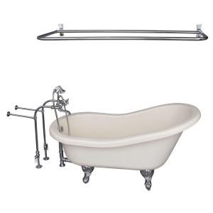 Barclay Products 5 ft. Acrylic Ball and Claw Feet Slipper Tub in Bisque with Polished Chrome Accessories by Barclay Products