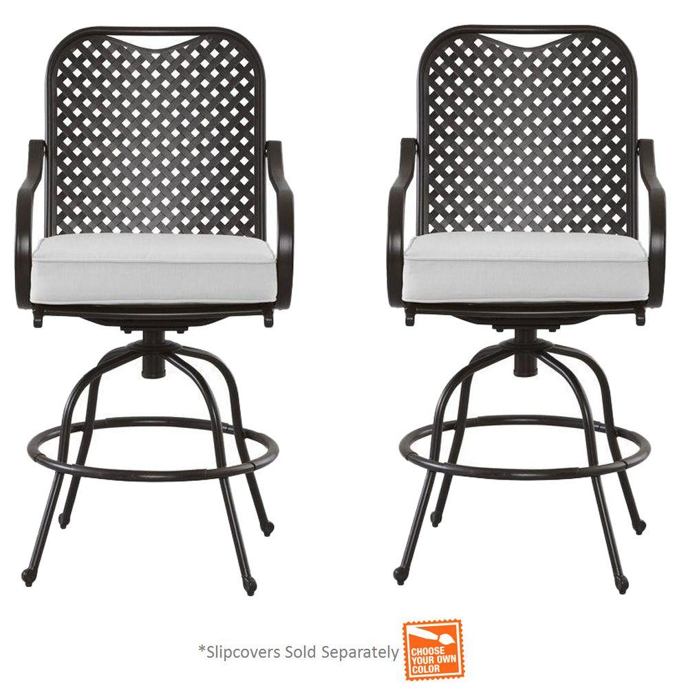 Hampton Bay Fall River 2-Piece Metal Motion Outdoor Dining Chair with Bare Cushion