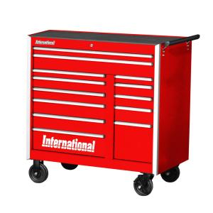 International Pro Series 42 inch 13-Drawer Roller Cabinet Tool Chest in Red by International