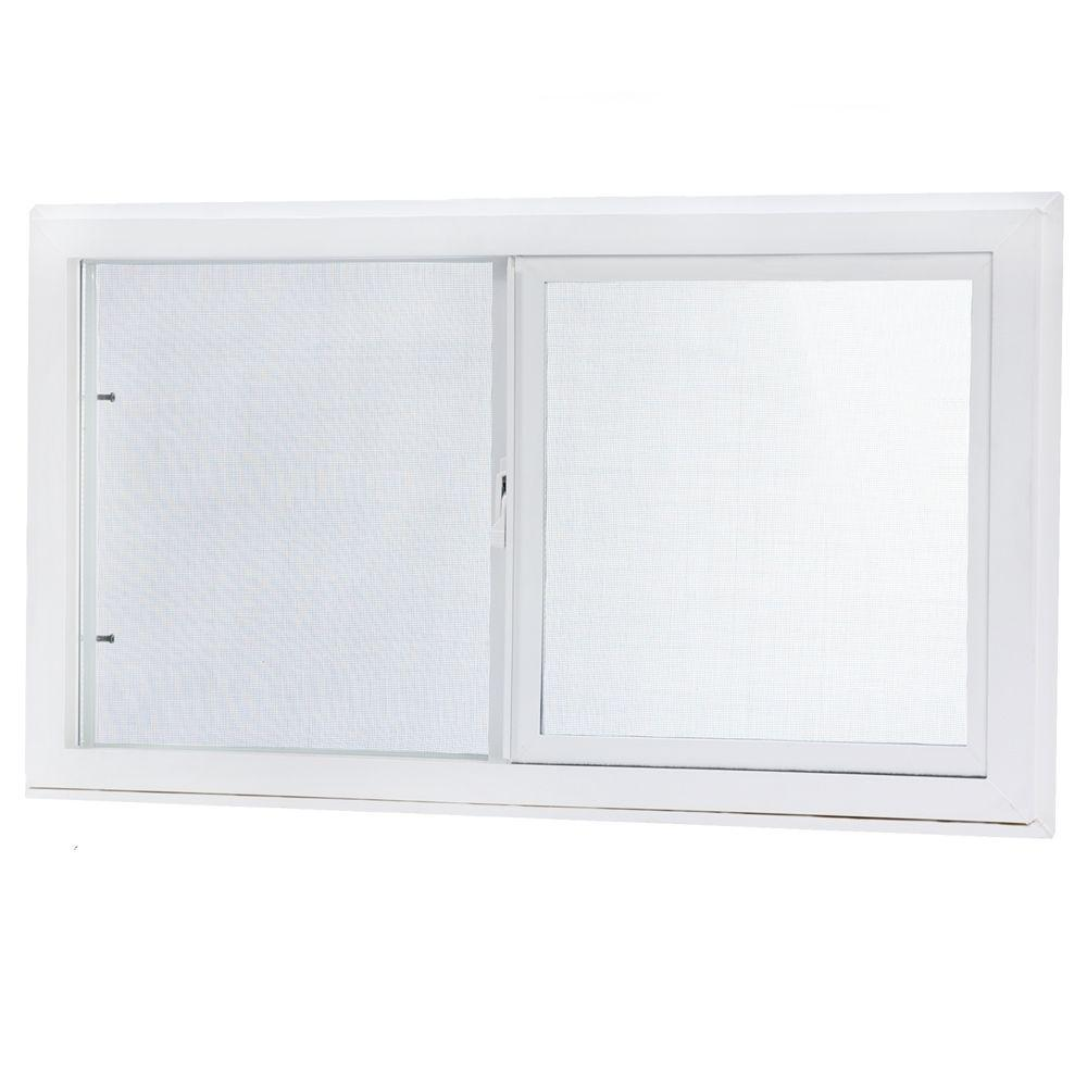 TAFCO WINDOWS 31.75 in. x 23.75 in. Left-Hand Sliding Vinyl Window with Screen - White