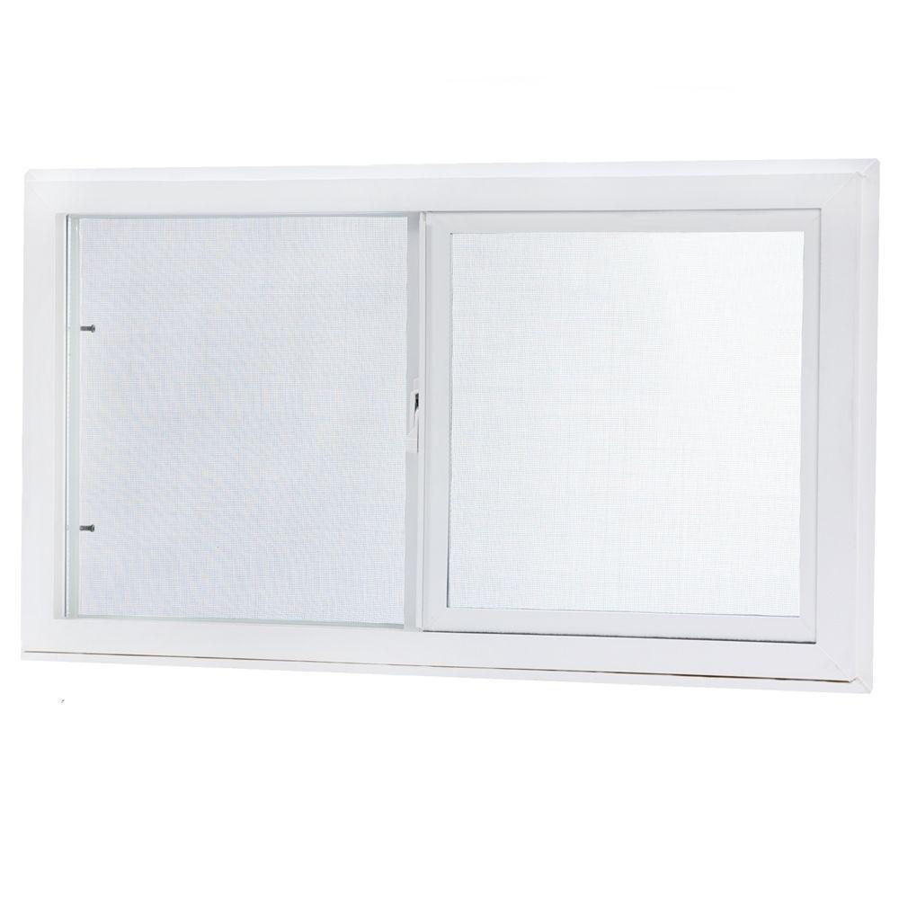 Single Sliding Vinyl Window White with Dual Pane Insulated Glass