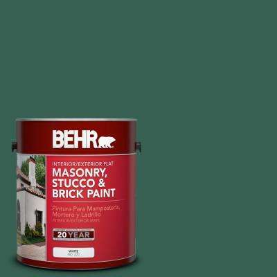 1 gal. #M430-7 Green Agate Flat Interior/Exterior Masonry, Stucco and Brick Paint