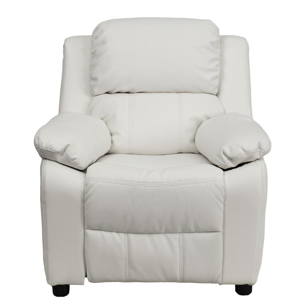 Flash Furniture Deluxe Padded Contemporary White Vinyl