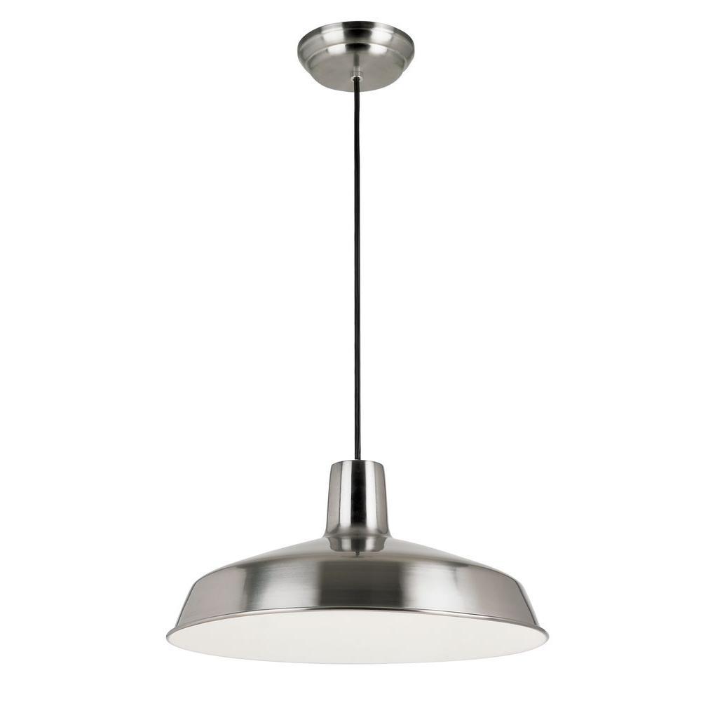 Bel Air Lighting 1-Light Brushed Nickel Industrial Style Pendant