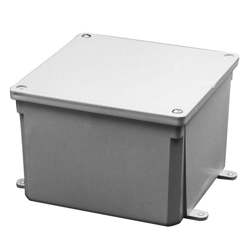 Carlon 6 in. x 6 in. x 4 in. Gray PVC Junction Box
