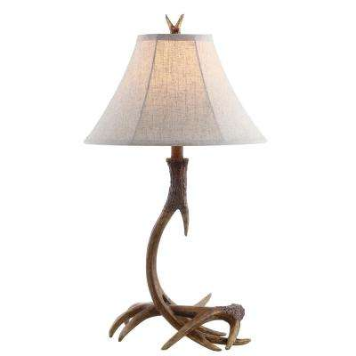 Antler 27.5 in. Rustic Resin LED Table Lamp, Brown