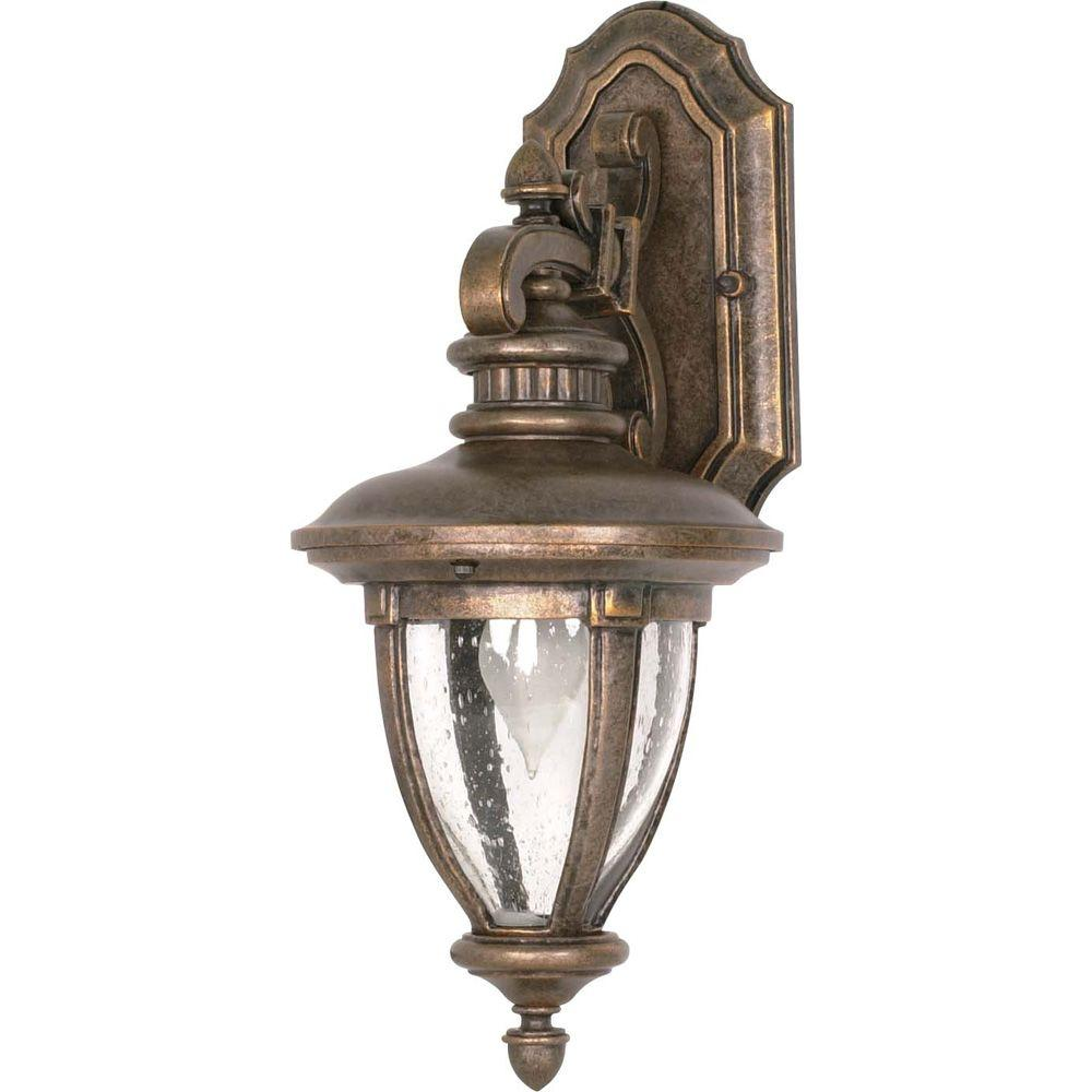 Glomar Galeon 1-Light 19 in. Wall Lantern Arm Down with Clear Seed Glass finished in Platinum Gold-DISCONTINUED