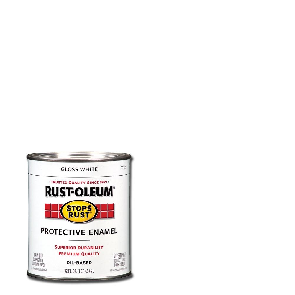 Rust-Oleum Stops Rust 1 qt. Protective Enamel Gloss White Interior/Exterior Paint (2-Pack)
