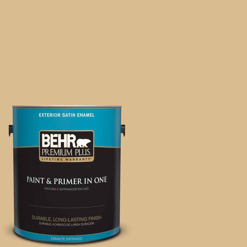 BEHR Premium Plus 1-gal. #340F-4 Expedition Khaki Satin Enamel Exterior Paint