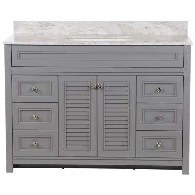 Bayridge 49 in. W x 22 in. D Bath Vanity in Sterling Gray with Stone Effects Vanity Top in Winter Mist with White Sink