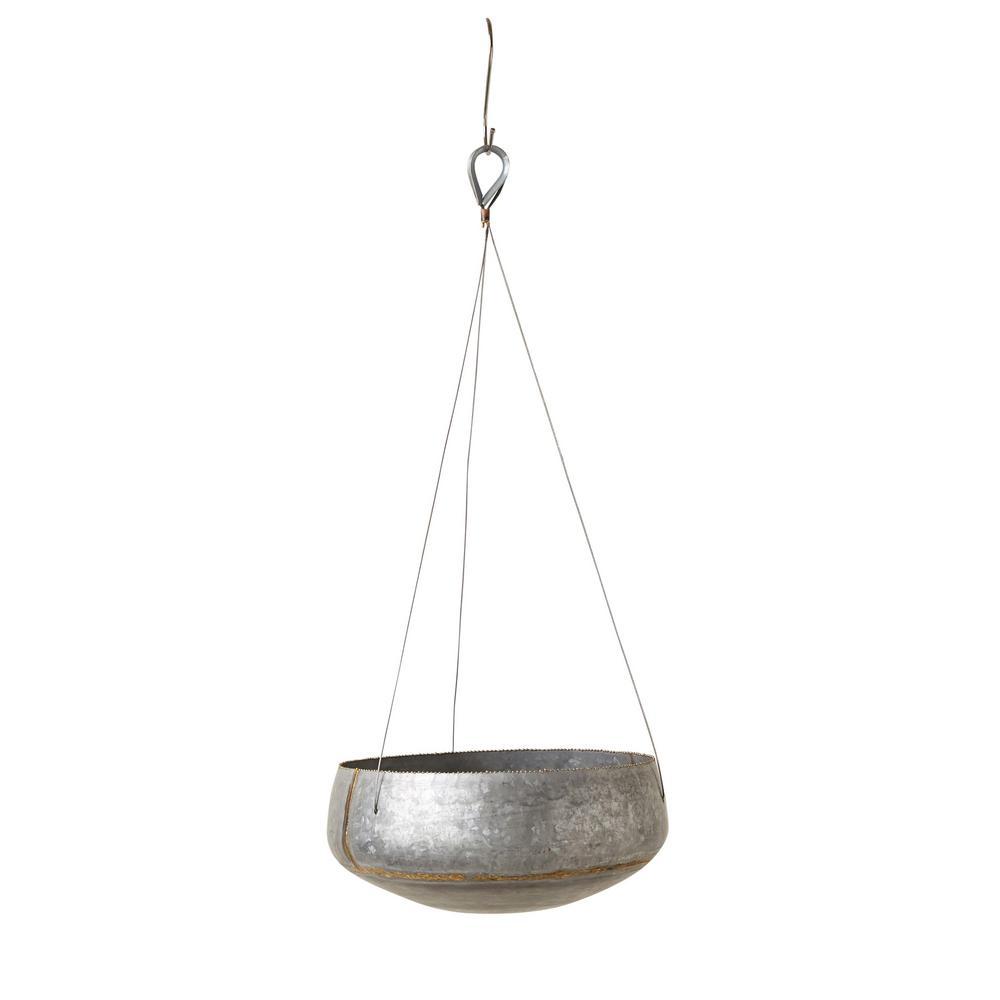 Silver Planter: 3R Studios Silver Iron Hanging Planter-DA7381