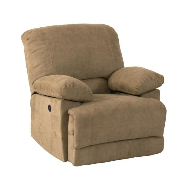 CorLiving Lea Brown Chenille Fabric Power Recliner with USB Port LZY-392-R