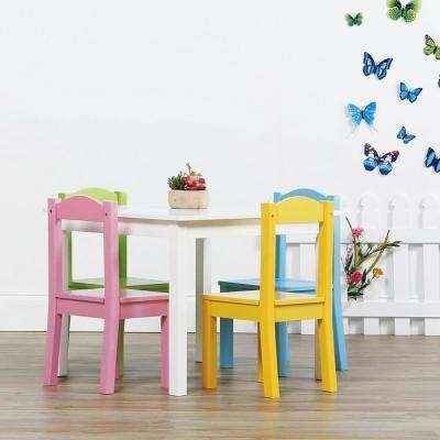 Pastel 5-Piece Kids Table and Chair Set