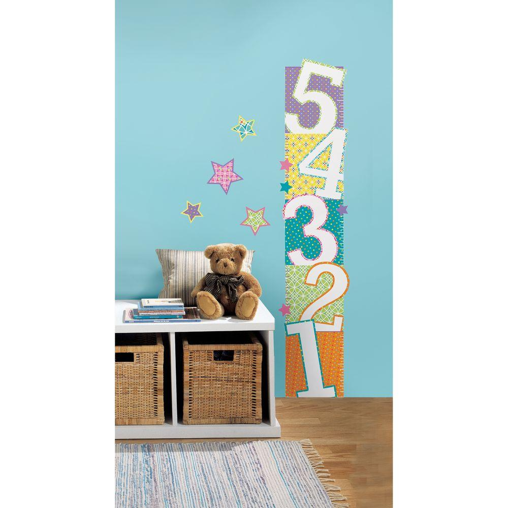 Patterned Numbers Growth Chart Peel and Stick Wall Decals  sc 1 st  Home Depot & 2.5 in. x 27 in. Patterned Numbers Growth Chart Peel and Stick Wall ...