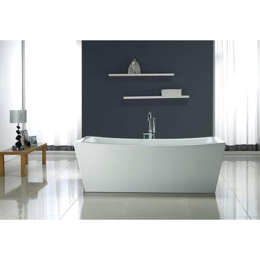 terra center drain bathtub in white