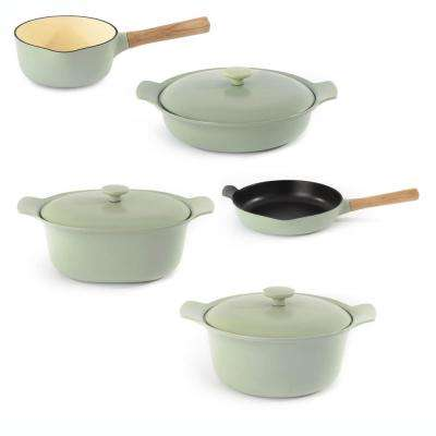 Ron 8-Piece Green Cast Iron Cookware Set with Lids