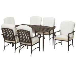 be19ab5e9d6 Oak Cliff Custom 7-Piece Metal Outdoor Dining Set with 6 Stationary Chairs  and Cushions · Hampton Bay ...