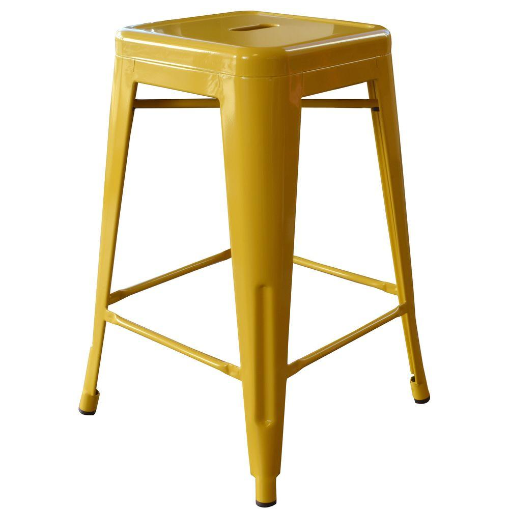 Loft Style 24 in. Stackable Metal Bar Stool in Gold