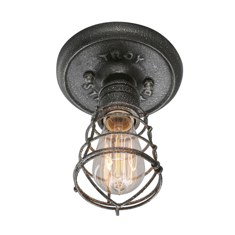 troy lighting conduit 1 light old silver flushmount c3810 the home