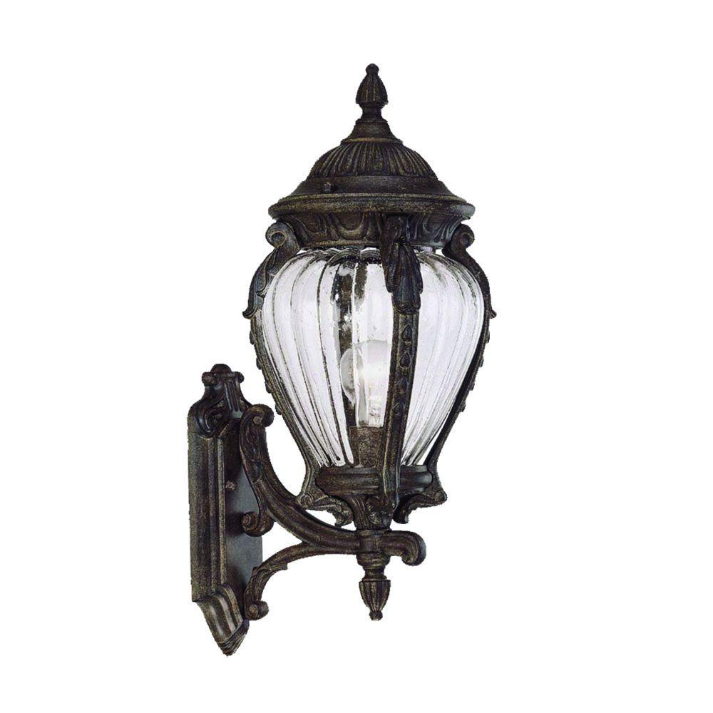 Nottingham Collection 1-Light Black Coral Outdoor Wall-Mount Fixture