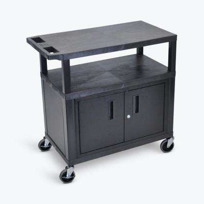 32 in. 3-Shelf Utility Cart with Cabinet in Black