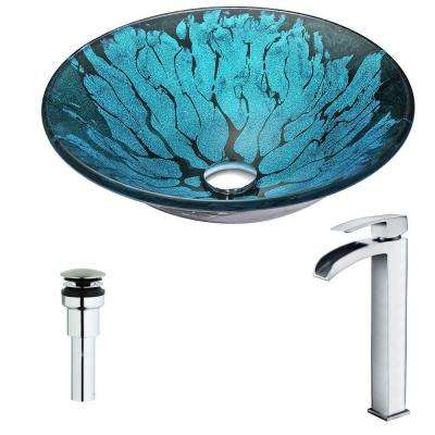 Key Series Deco-Glass Vessel Sink in Lustrous Blue and Black with Key Faucet in Polished Chrome