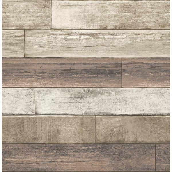 Brewster Rust Weathered Plank Wood Texture Wallpaper
