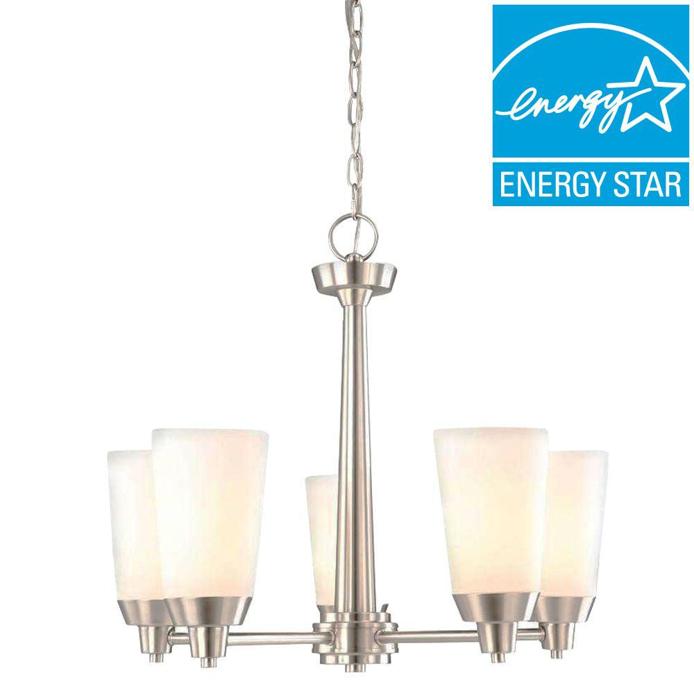Hampton Bay Stratus 5-Light Brushed Nickel Chandelier