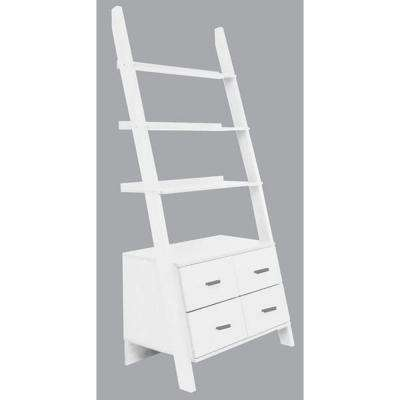 Leaning White Ladder  Drawer Bookcase