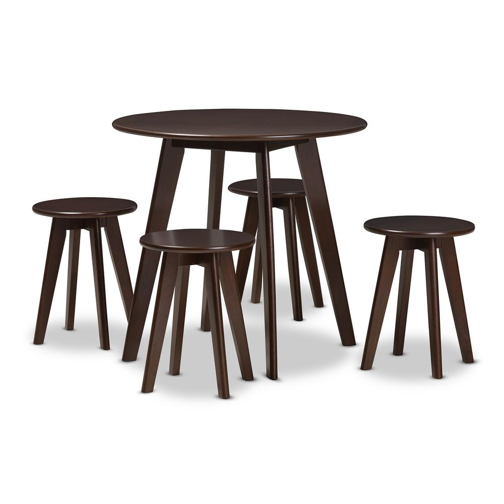 Zula 5-Piece Dark Brown Dining Set