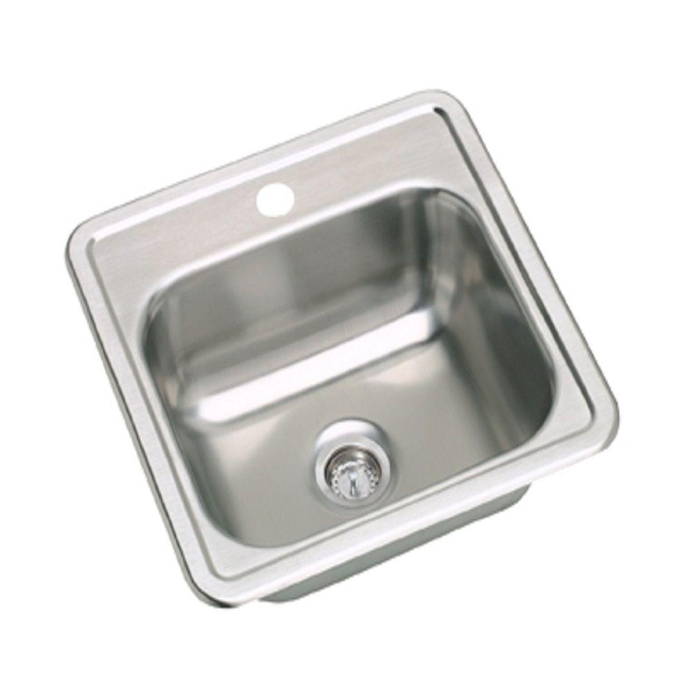 Elkay Dayton Drop-in Stainless Steel 15 in. 1-Hole Bar Single Bowl ...